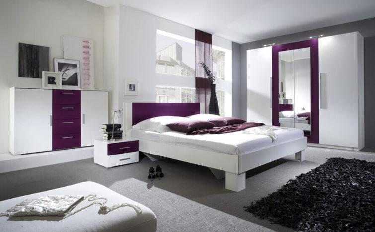 Szafa Vera Helvetia biała lila sypialnia