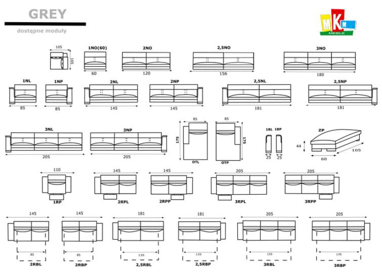 Narożnik Grey Gki Design wymiary