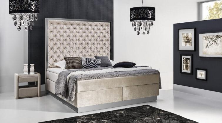 Łóżko KONTYNENTALE z wezgłowiem 700 o wysokości 165 cm